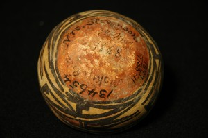 Detail of polychrome bowl with kachina design. Old Wesleyan Museum number, Smithsonian accession number, name of collector, place of collection, current catalogue number.