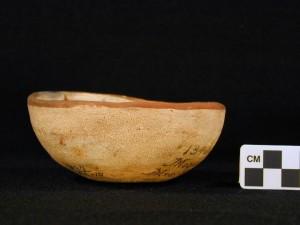 Side view: polychrome bowl with kachina design.