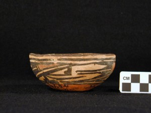 Side view: polychrome bowl with kachina design.