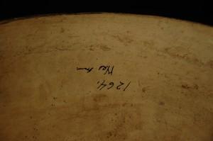 Detail: large Zuni bowl. Old Wesleyan Museum number.