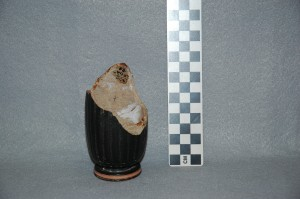 Black-glazed lekythos base. Shows break.