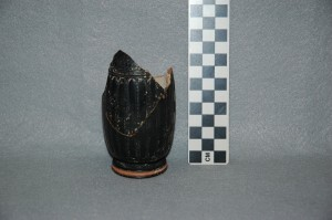 Black-glazed lekythos base.