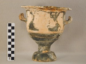 Front view: red-figure bell-krater with heads of women.