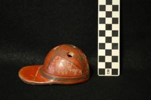 Side view: Ceramic baseball hat.
